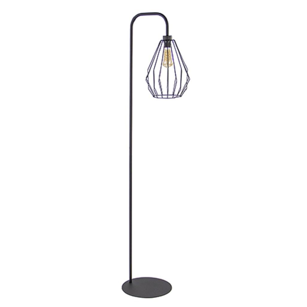 Industriele Kleine Staande Lamp.Draad Vloerlamp Zwart Met Korf Straluma