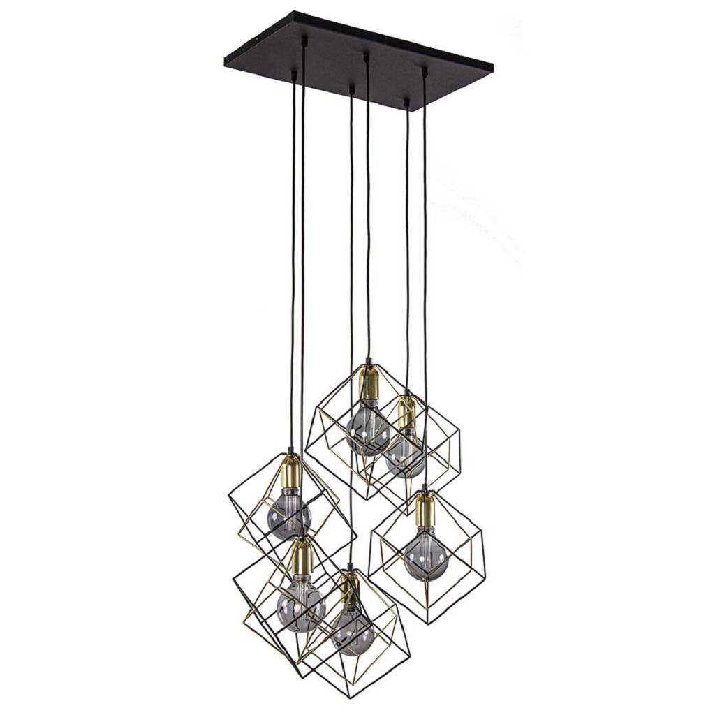 6-Lichts hanglamp kubus zwart/goud