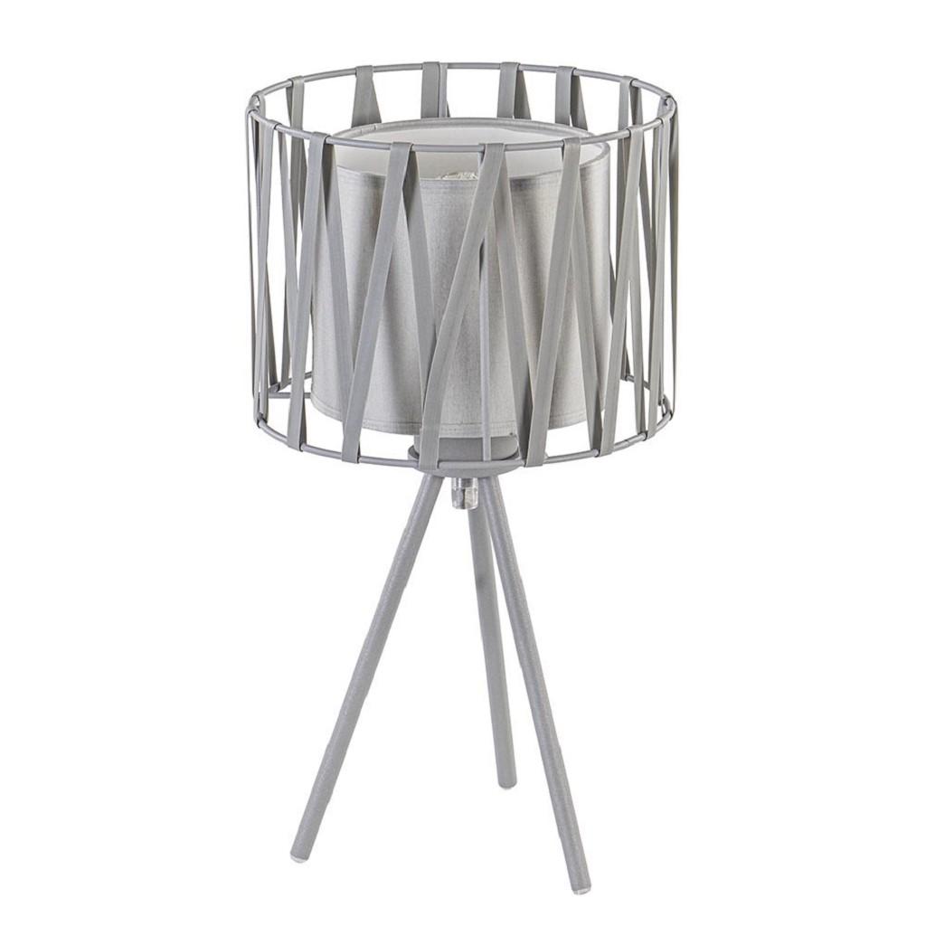 Grijze driepoot tafellamp met kap