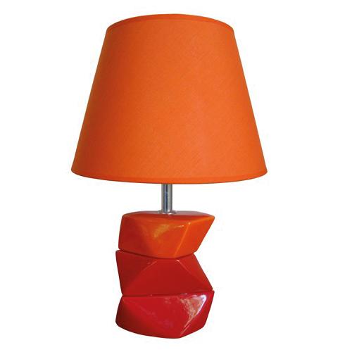 Kubische tafellamp oranje, rood met kap
