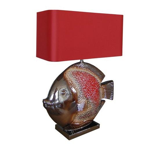Keramieke tafellamp vis rood