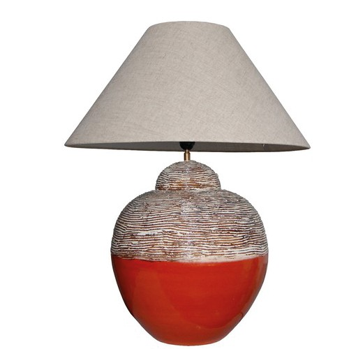 *Tafellamp oranje, bruin met kap
