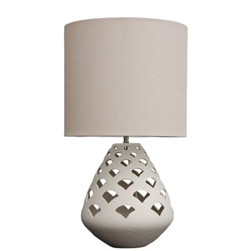 *Opengewerkte mozaiek tafellamp beige
