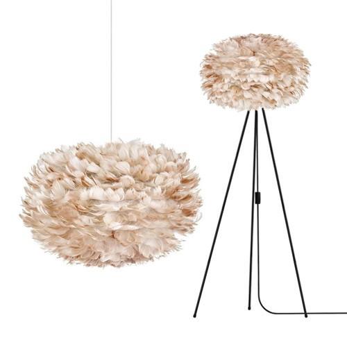 Romantische hanglamp veren licht bruin