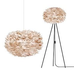 *Romantische hanglamp veren licht bruin
