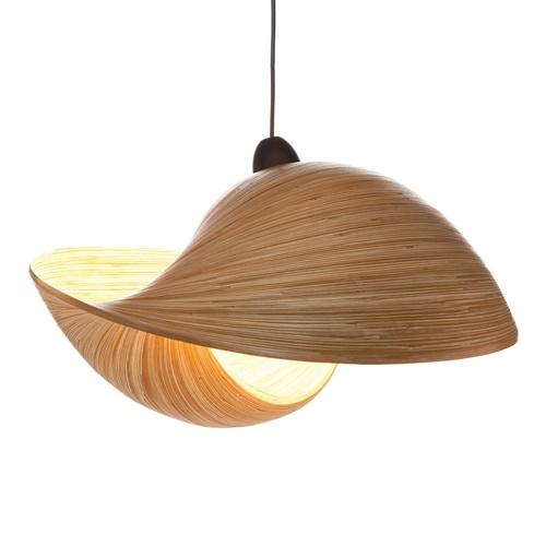 Grote hanglamp bamboe schelp 60 cm