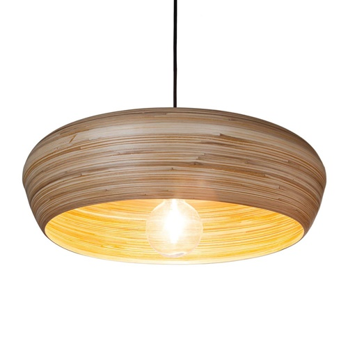 Grote hanglamp ronde koepel bamboe