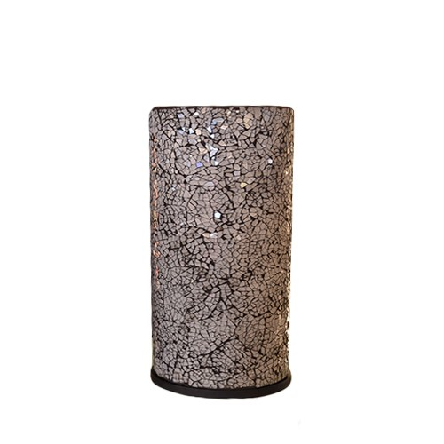 Sfeervolle tafellamp zuil glas zwart-