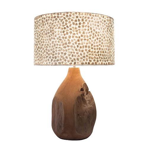 Teak houten tafellamp met capiz schelpen kap wit