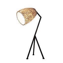 Driepoot tafellamp zwart met schelpen kap bruin goud