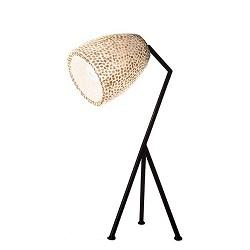 Zwarte driepoot tafellamp met witte schelpenkap