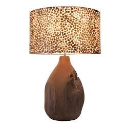 Schelpen tafellamp met teak houten voet