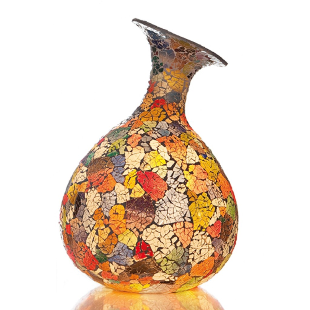 Kleurige tafellamp decoratief glas