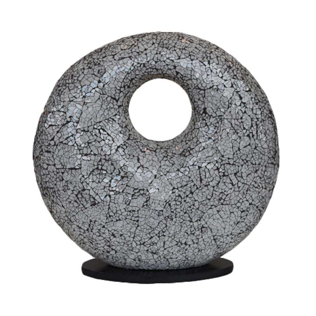 Decoratieve tafellamp glas wit,zwart