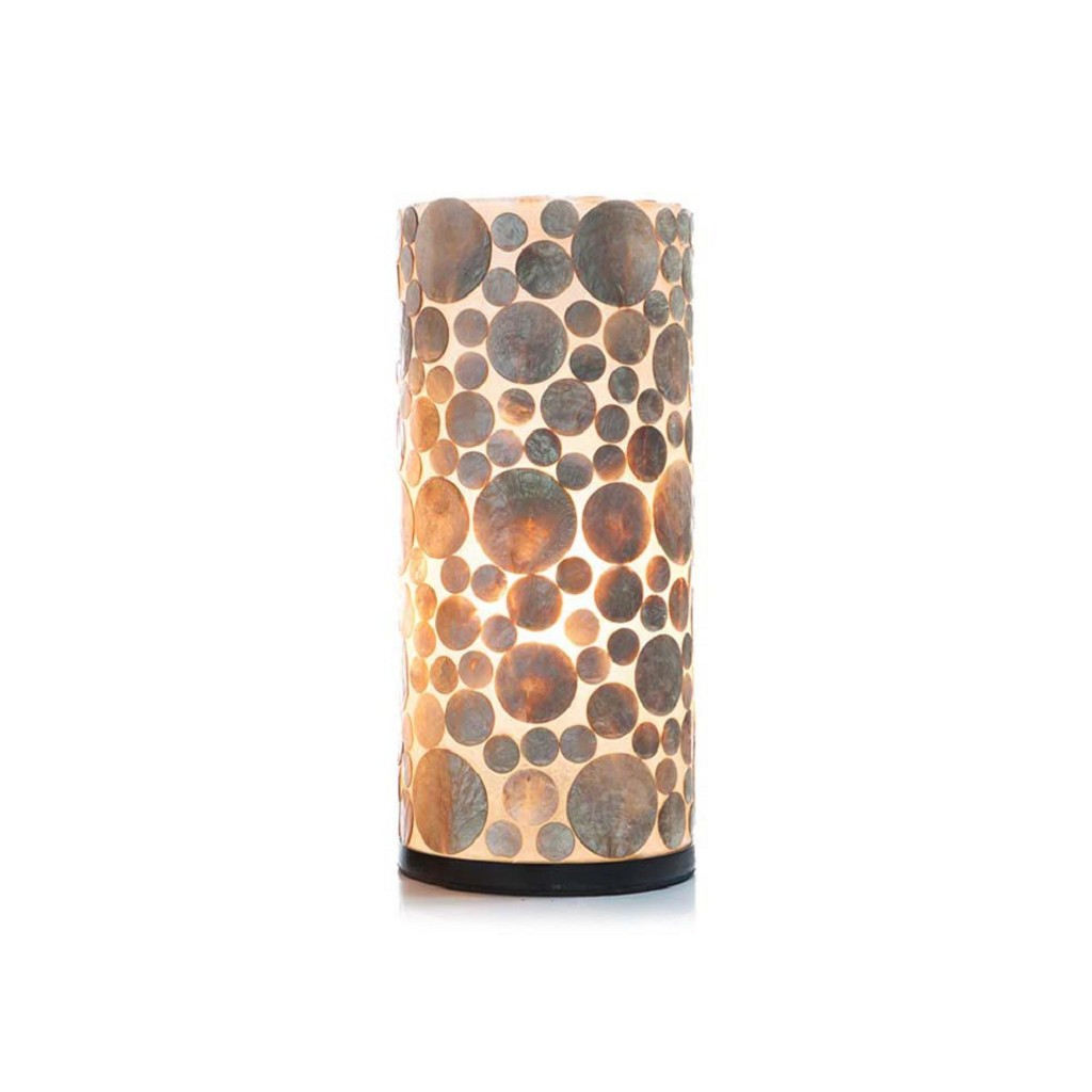 Schelpen tafellamp cilinder goud/bruin