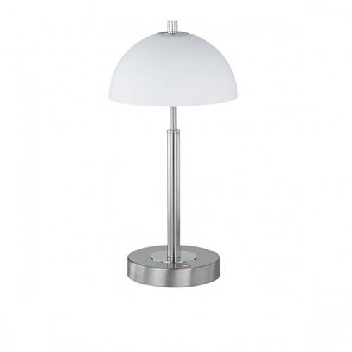 Tafellamp nikkel, chroom, wit glas kap