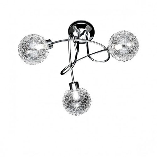 Plafondlamp chroom 3x gevlochten bol