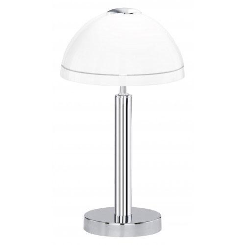 Tafellamp chroom met wit glas dimbaar