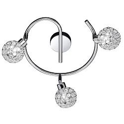 Plafondlamp chroom met kristal bollen