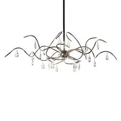 Luxe hanglamp chroom kristal eettafel
