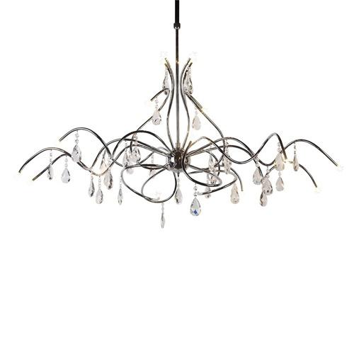 Romantische hanglamp chroom eettafel