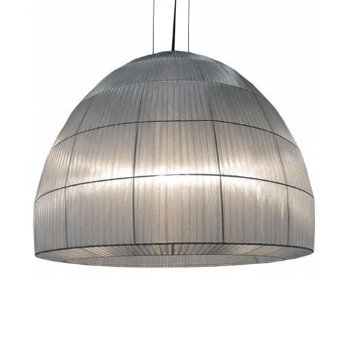 Kap hanglamp zilver stof, slaapkamer | Straluma