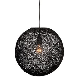 Abaca hanglamp zwart rond slaapkamer