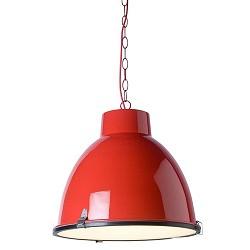 *Industriele hanglamp rood tienerkamer