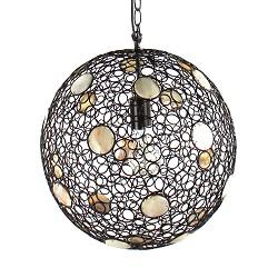 * Bruine hanglamp bol met schelpen
