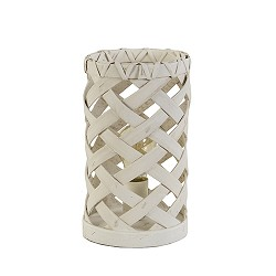 Kleine witte tafellamp gevlochten hout