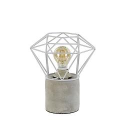 Tafellamp voet beton+draad wit diamant