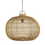 *Grote bol hanglamp rotan-hout