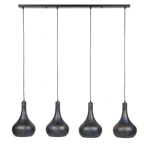 Eettafelhanglamp 4-lichts kegel gebrand staal zwart/bruin