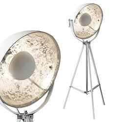 Vloerlamp 3-poot grote spot wit zilver
