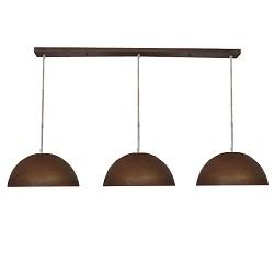 Hanglamp roest bruin 3-lichts eettafel
