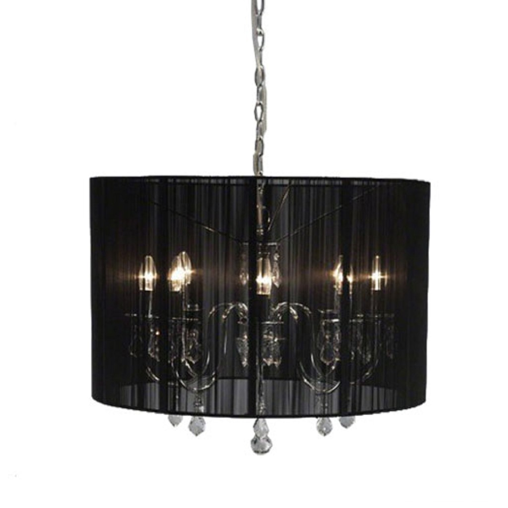 Verwonderend Hanglamp kroonluchter in zwarte kap | Straluma TM-41