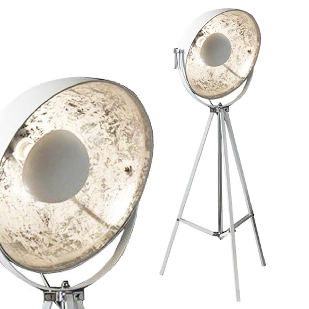 *Vloerlamp 3-poot grote spot wit zilver