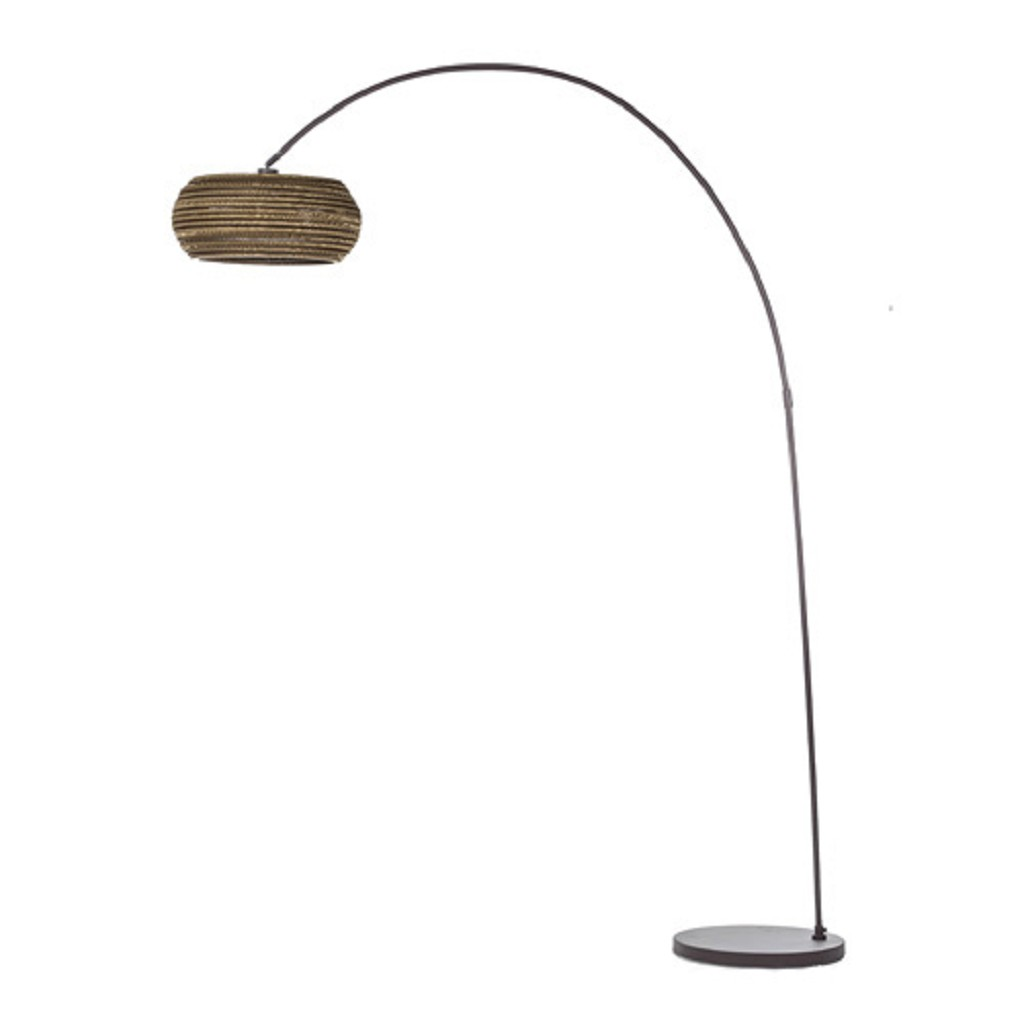 Welp Bruine booglamp met kartonnen lampenkap | Straluma VJ-96