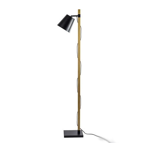 strak houten staande lamp met zwart | straluma