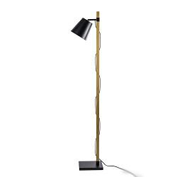 Strak houten staande lamp met zwart
