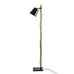 *Strak houten staande lamp met zwart