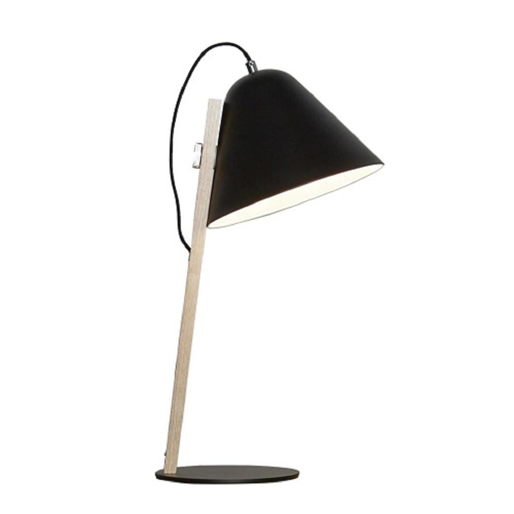 Moderne houten tafellamp met kap zwart