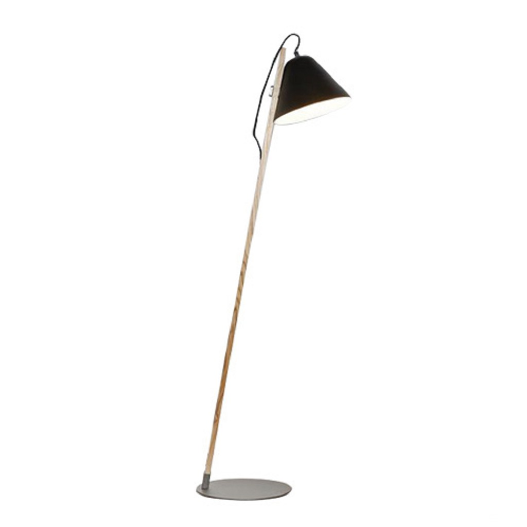 Moderne vloerlamp hout met zwart