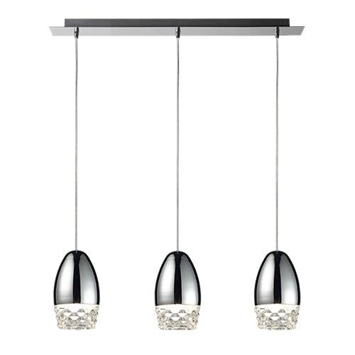 3-lichts hanglamp chroom ei met glas