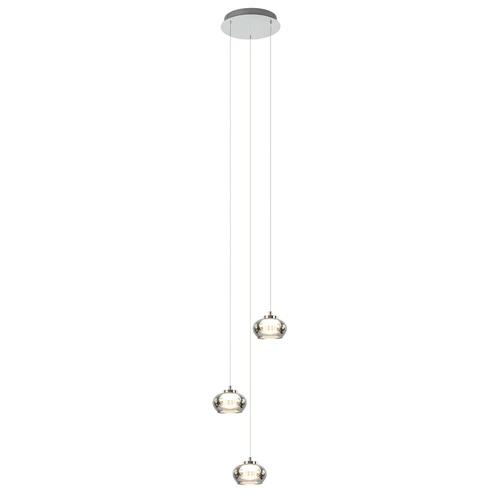 Ronde LED hanglamp chroom met smoke glas 3-standen dimbaar
