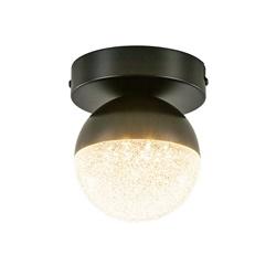Kleine LED plafondlamp zwart met diamant zand