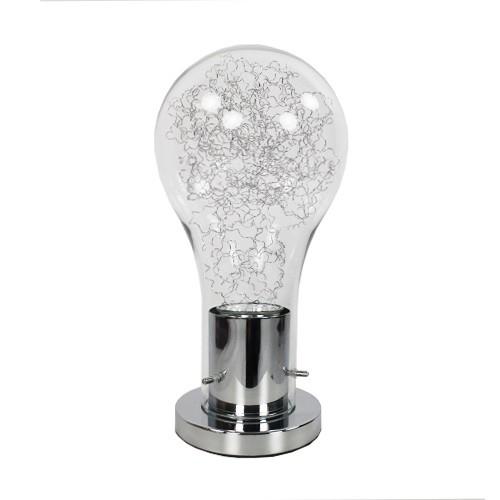 *Moderne chromen tafellamp gloeilamp