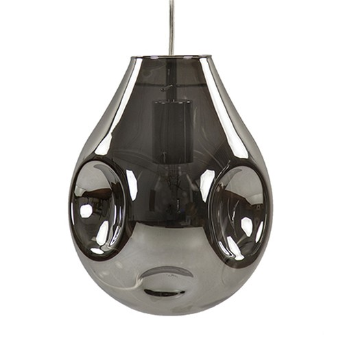 *Glazen hanglamp smoke met chroom