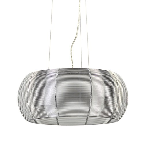 *Moderne draad-hanglamp zilver met glas
