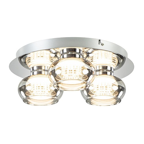 Plafondlamp 3-L chroom/smoke 3-step dim.